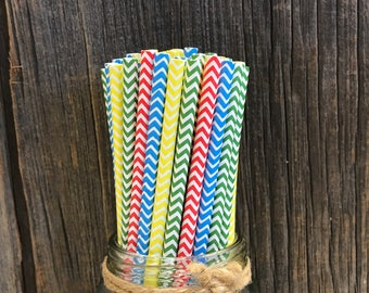 100 Red, Yellow, Green and Blue Chevron Straws- Primary Colors, Birthday Party Supply, Free Shipping!