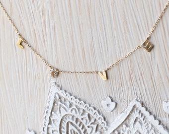 L.O.V.E letter Dainty Gold Chain Necklace  <Small> Silver925, CZ diamond - Gold / Silver