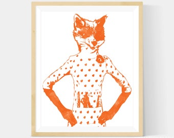 Fantastic Mr Fox Print - Mrs Fox, Felicity Fox Print in Your Choice of Size, Fox Nursery, Book Nursery, Nursery Art Print