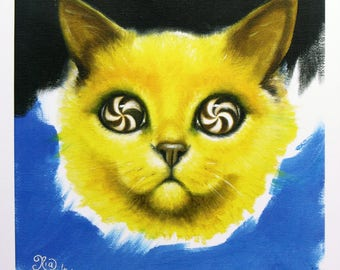 CAT TRIP - limited edition print - one of only 20 copies - psychedelic cat art swirly eyes - cat portrait - 22 x 22 centimenters square