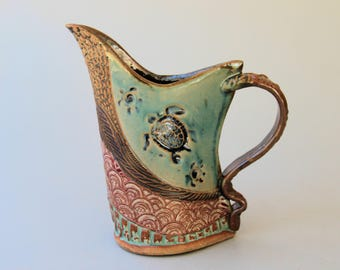 Sea Turtle Pottery Pitcher Hand Made Microwave and Dishwasher Safe