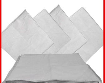 "White Solid Bandana -  22"" x 22"" (12 PACK) 100% Cotton"