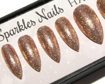 Reflective Nails - Mirror Nails - Holographic Nails - Sparkly Nails - Stiletto Press On Nails - Set of Fake Nails - False Nails - Faux Nails