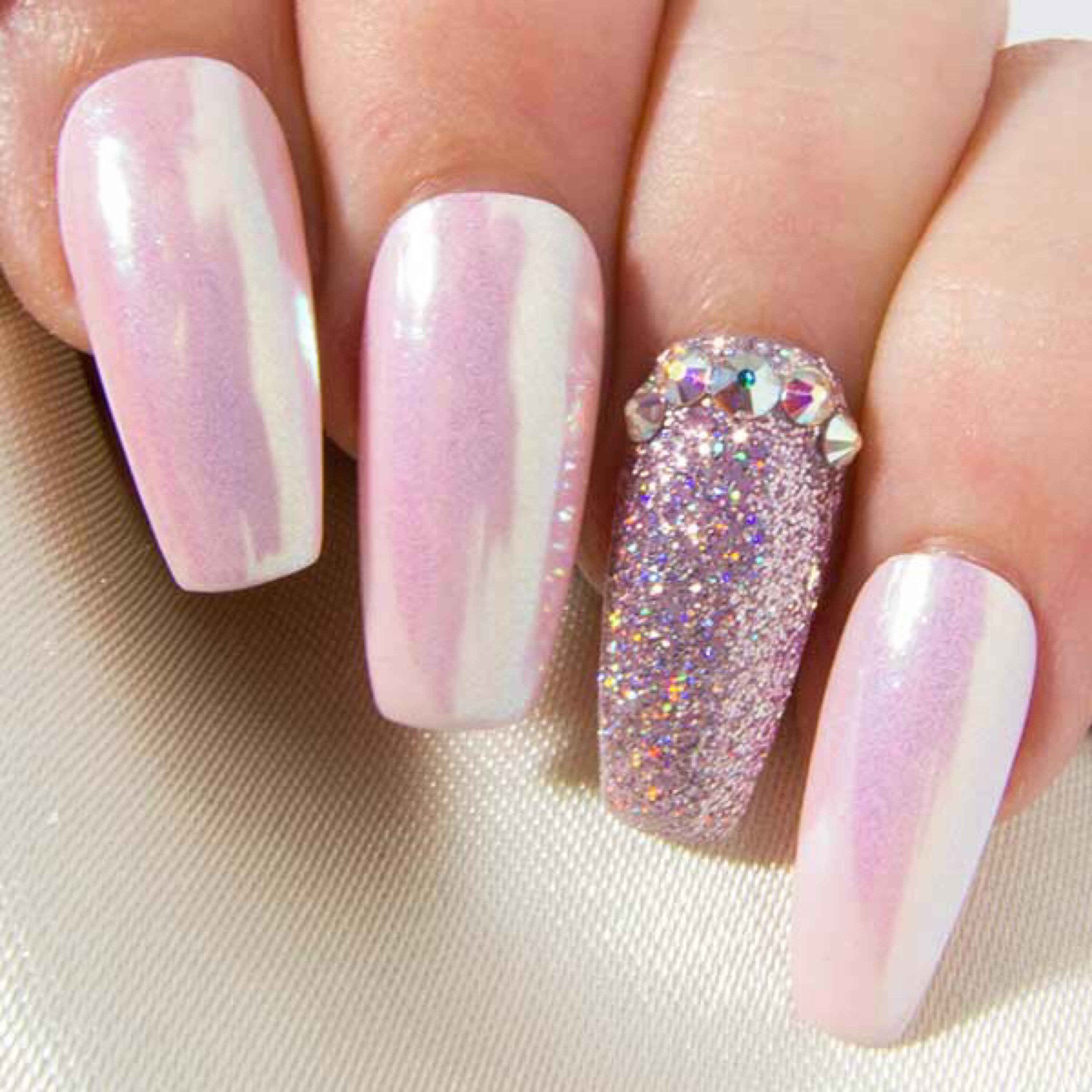 Coffin false nails with crystals pink iridescent unicorn chrome 2999 prinsesfo Image collections