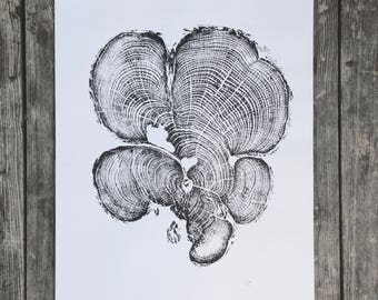 Grand Canyon Cedar, Tree Ring Art Print, National Parks, Original Woodblock, Grand Canyon Print, gift for guys, fathers day, dad gifts