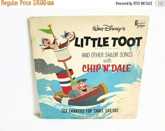 Christmas in July Sale Walt Disney's Little Toot LP from the Book by Hardie Gramatky, Disneyland Record DQ 1233 Vinyl Record Album, Chip N D
