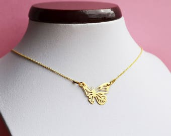 """Butterfly"" 24 K gold plated silver necklace"