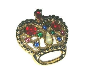 Mid Century CROWN JEWELS Brooch Vintage Rhinestone Jewelry Broach Hollywood Regency Crown Pinup Queen Elizabeth Royal Princess Jewellery NOS