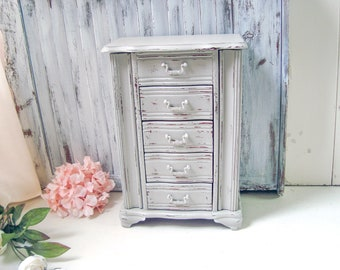 Gray Jewelry Box, Light Grey Jewelry Holder, Shabby Chic Jewelry Cabinet, Rustic Paris Gray Jewelry Chest, Teen Gift Idea, Mothers Day Gift