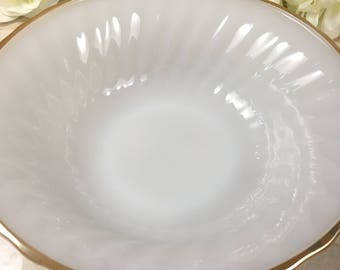 Anchor Hocking Oven Proof Milk Glass Serving Bowl w/ Gold Trim, Vintage Milk Glass Bowl Made in the USA