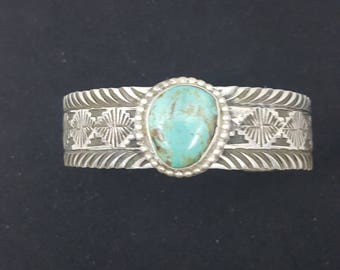 Sterling Silver Turquoise Cuff ~ RE