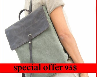 "15""  Canvas Laptop Backpack - Canvas Rucksack - Green leathe sachrel"
