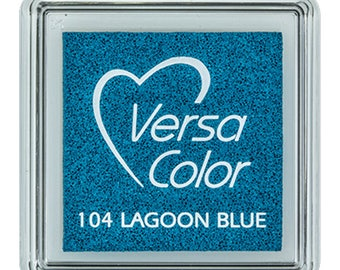 Blue ink pad, VersaColor ink pad, VersaColor lagoon blue, craft supplies, ink pad for rubber stamps, DIY, water based ink pad, small inkpad