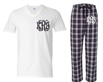 Monogrammed Pajama Set/Black and White Pajama Set/Monogrammed Pajamas/Womens Pajamas/Monogrammed Gifts