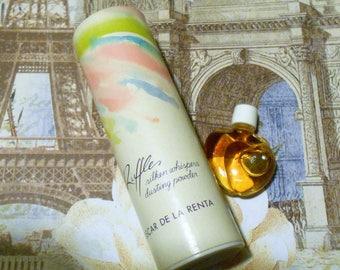 Ruffles mini bottle & silken whispers dusting powder by Oscar de la Renta, 3 ml heart-shaped bottle of vintage fragrance, 1 oz. powder.