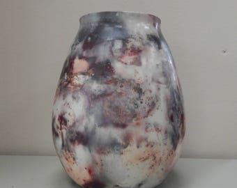 Barrel Pit Fired Medium Multicoloured Stoneware Vase