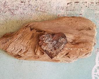 My heart belongs to the sea California driftwood heart art