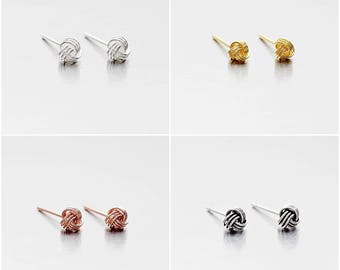 925 Sterling Silver Earrings, Knot Earrings, Gold Plated, Rose Gold Plated, Oxidized Earrings, Stud Earrings, Size 4 mm (Code : E36A)
