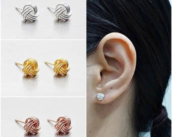 925 Sterling Silver Earrings, Knot Earrings, Gold Plated, Rose Gold Plated, Stud Earrings, Size 6 mm (Code : E36C)