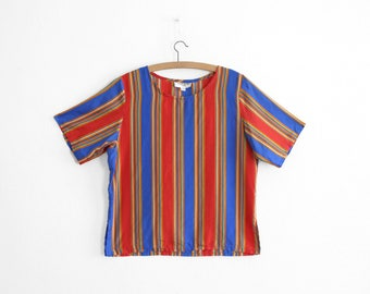 Vintage YSL Stripy Silk Blouse - Made in France - Size 8/10