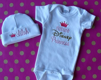 Disney new baby gift etsy baby set outfit personalized baby hat and onesie future disney princess shower gift negle Choice Image
