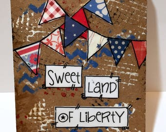 Patriotic Wall Art, Red, White and Blue Banners, Patriotic Decor, USA, Sweet land of liberty