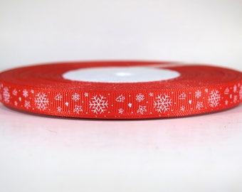 "5 yards of 3/8 inch ""snowflake"" grosgrain ribbon"