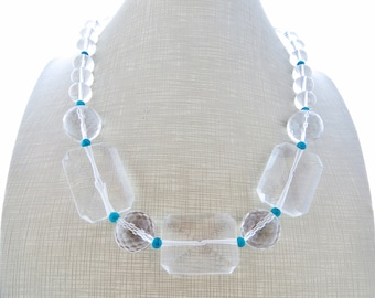 Rock crystal necklace, chunky necklace, clear necklace, big bold necklace, beaded necklace, turquoise jewelry, wedding jewelry, gioielli