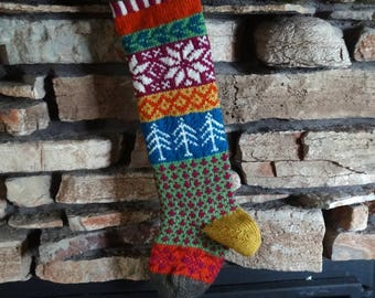 Knit Christmas Stocking, Personalized Christmas Stockings, Christmas Stockings, Knitted Christmas Stocking, Magenta Snowflakes, Blue Trees