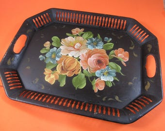 Vintage Black Metal Toleware Hand-painted Serving Tray Tole Tray with Handles Shabby Chic Perfume Vanity Cordial Tray