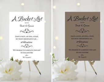 A4/A5 Printed Wedding Sign - PERSONALISED - A Bucket List