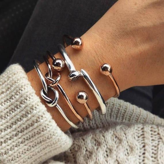 Combo of 5 Bracelets / Bangle Cuff Bracelet Set / Nail Bracelet / Knot Bracelets / Ball Bracelet / Gold, Silver Plated / Stacked Bracelets