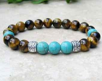 Tiger's Eye and Turquoise Gemstone Stretch Bracelet, Mala Yoga Prayer Bracelet, Spiritual Jewelry, Tibetan Jewelry, Healing, Men or Women