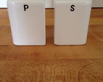 vintage salt and pepper shakers mid century modern, white
