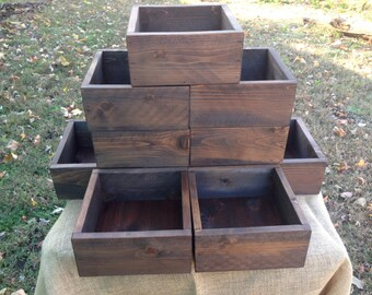 READY TO SHIP Set of Ten Rustic Wedding Centerpiece Flower Boxes, Table Centerpiece, Wood Flower Boxes