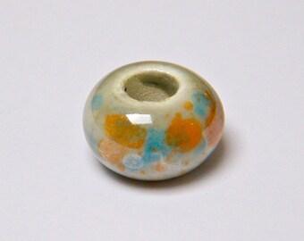 Ceramic beads, saucer, beige, blue, orange, to the piece