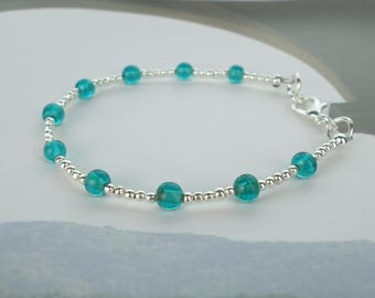 silver stacking bracelet, jade bracelet, green bracelet, silver bracelet, delicate bracelet, turquoise bracelet, dainty bracelet
