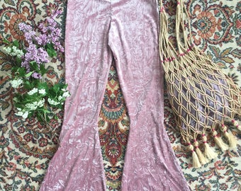 High waisted velvet bellbottoms bells flares boho bohemian hippie 70's