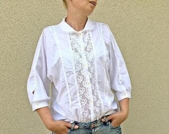 ON SALE Vintage white lace shirt button up top secretary formal blouse L