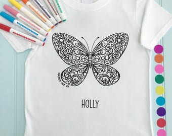 Girls Butterfly Tee Shirt Personalised Colour in Butterfly Design Doodle Colouring in Art Fabric Pens T-Shirts Fun Activity for Kids