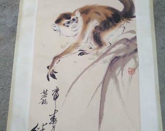 Excellent old Chinese Scroll Painting By Liu Jiyou: Monkey A71
