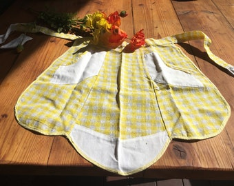 Vintage Apron-Yellow Gingham- 1950's-Mothers Day-High Tea-