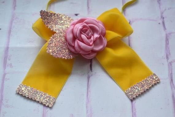 Pretty yellow and pink flower velvet glitter bow - Baby / Toddler / Girls / Kids Headband / Hairband  / Barrette / Hairclip / Easter