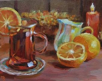 Picture Original Oil Painting-Still-Life Lemons Tea Candle