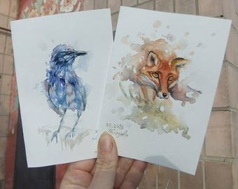 Original Watercolor Art Postcards Set of 2 Bird  Fox
