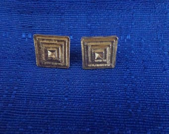 Avon Gold Tone Square Earrings,Avon Stud Earrings,Vintage Avon Jewelry