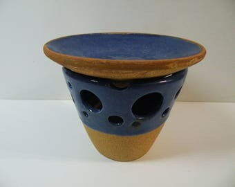 Essential oil diffuser. Ceramic oil burner - ceramic candle burner -  royal blue ceramic oil burner for aromatherapy oils and candle melts
