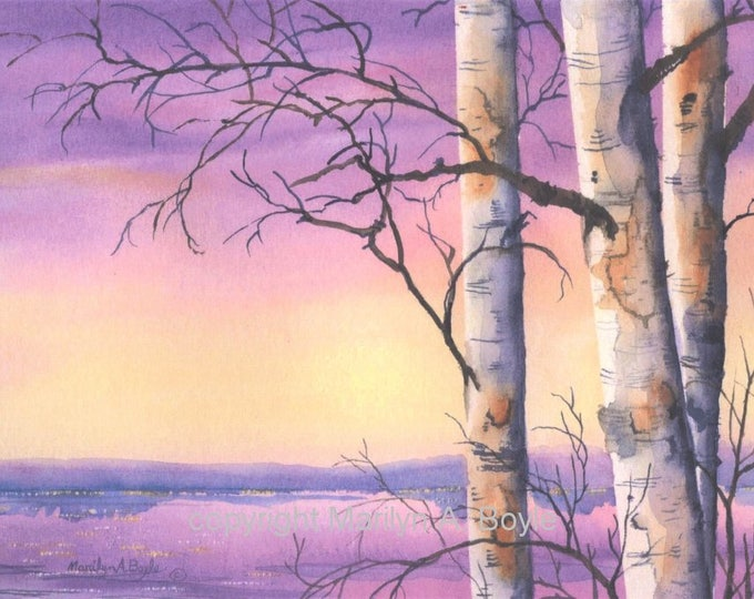 PRINT - WATERCOLOR SCENE; birches, lake, lavender skies, lake, nature, wall art, laser paper,