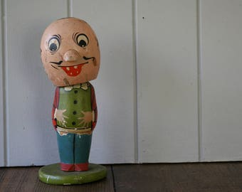 Japanese Kokeshi Bobble Head Doll Wooden Creepy Made in Japan