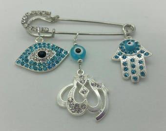 Allah stroller pin, Evil eye pin, hamsa pin, Allah pin, muslim baby gift, islamic baby gift, blue hamsa pin, blue Allah pin, stroller pin